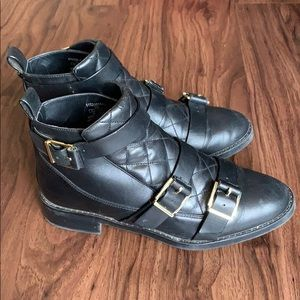 Zara quilted leather buckle ankle boots
